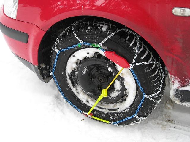 snow chains around a tyre